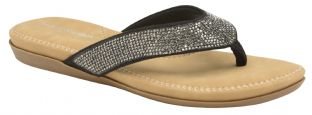 Dunlop Womens Eryn Black Toe-Post Sandals